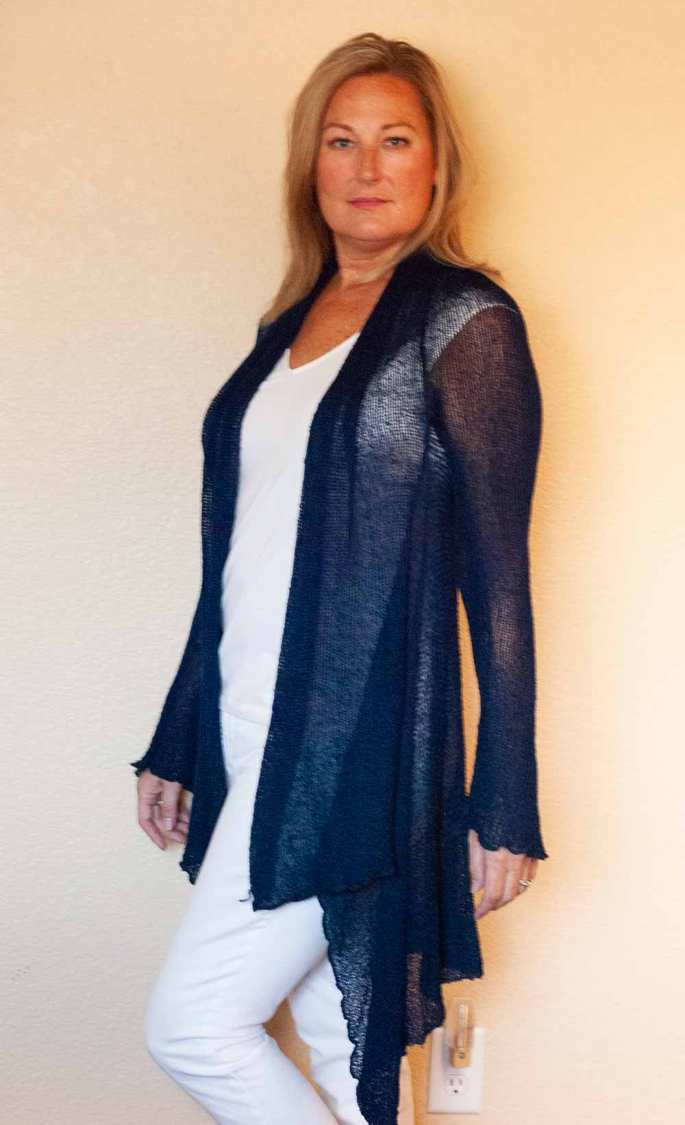 Assymetrical Knit Cardigan is One Size, wrinke free, and perfect for travel and daily Yoga classes.