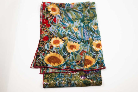 Art Scarf . Sunflowers. Silk Scarf