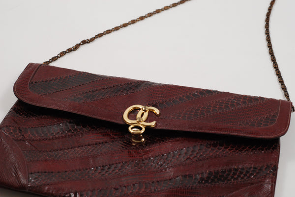 Oleg Cassini Clutch - Burgundy Leather Snakeskin Handbag / Clutch