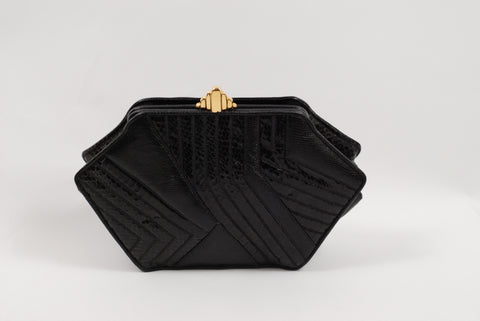 Black Snakeskin Handbag Clutch