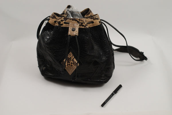 Black Bucket Bag with Snakeskin Accents