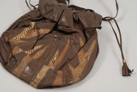 Taupe Leather Snakeskin Collage Design Handbag