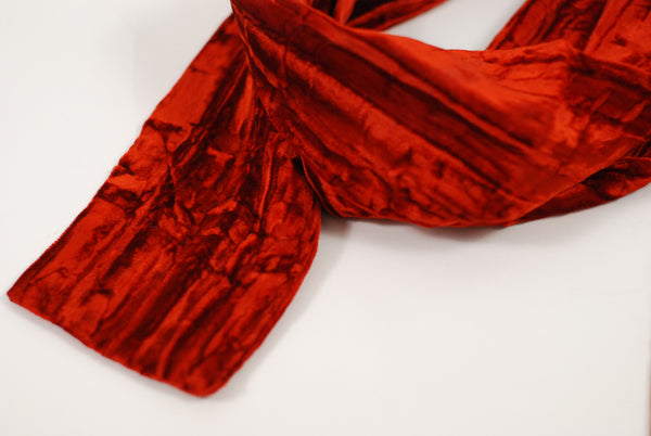 Brick Red Velvet Scarf