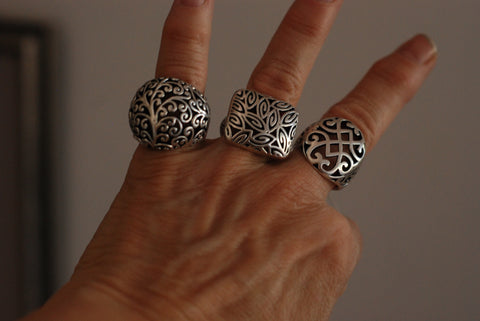 Beautiful Filigree Scarf Rings