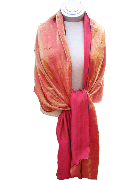 Bwrapt Shimmer Wrap in Tangerine is a beautiful unique Travel Wrap and Shawl
