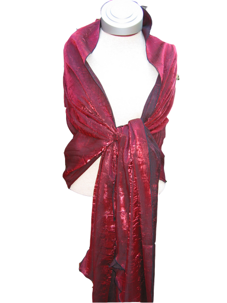 Bwrapt Shimmer Wrap in Burgundy is a beautiful unique Travel Wrap and Shawl