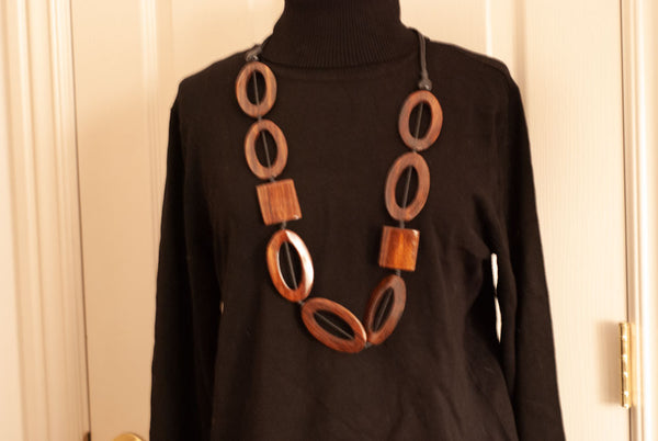 Geometric Shapes Wood Necklace