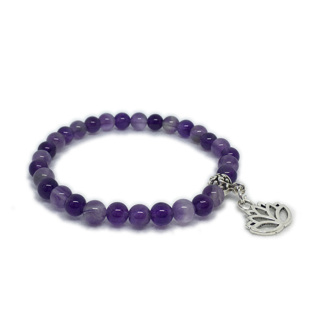 February - Amethyst with Lotus charm