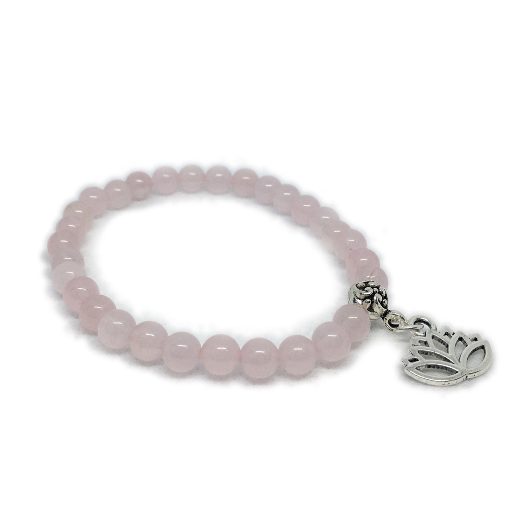 May - Rose Quartz with Lotus charm