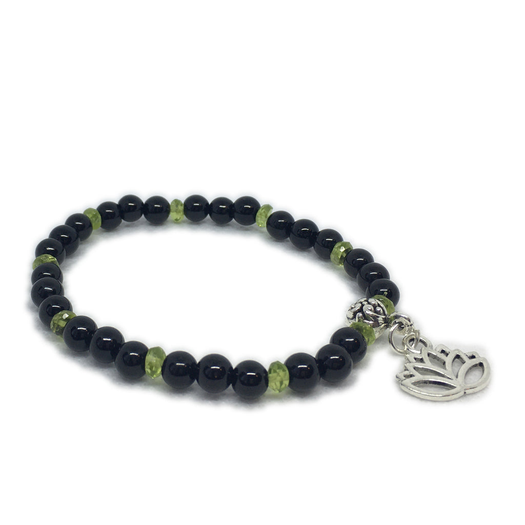 August - Onyx and Peridot with Lotus charm