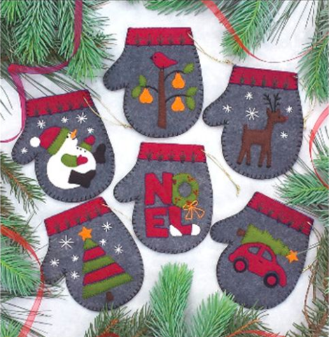 Charcoal mittens felt ornament kit