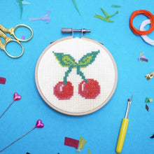 Load image into Gallery viewer, Make Arcade Cherry Bomb cross stitch kit