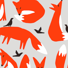 Ophelia Pang Foxes fabric