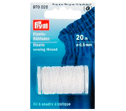 Prym shirring elastic sewing thread - white 0.5mm X 20m