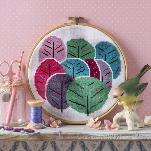 Hawthorne Handmade Spring Trees cross stitch kit