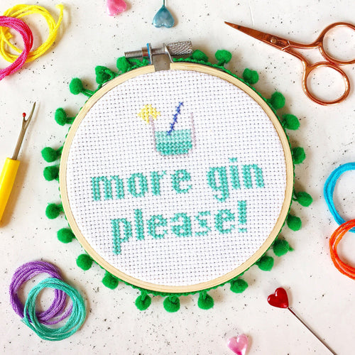 The Make Arcade More Gin Please cross stitch kit