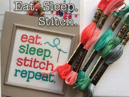 Lori Holt cross stitch kit - Eat Sleep Stitch Repeat