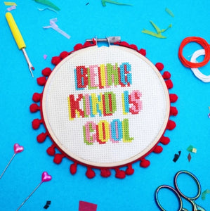 Make Arcade Being Kind is Cool cross stitch kit