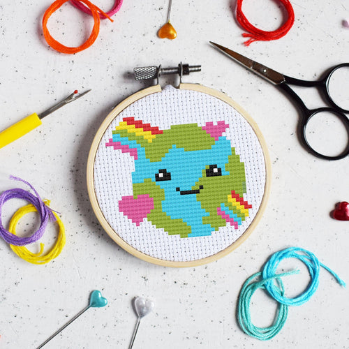 The Make Arcade Love the Planet cross stitch kit