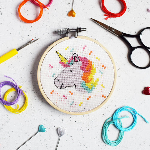 The Make Arcade Magical Unicorn cross stitch kit