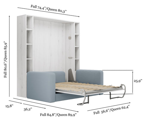Murphy Bed with Sofa White Color