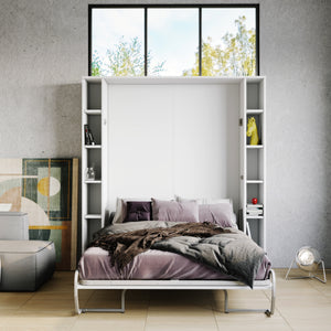 Elara White - Murphy Bed with Shelves