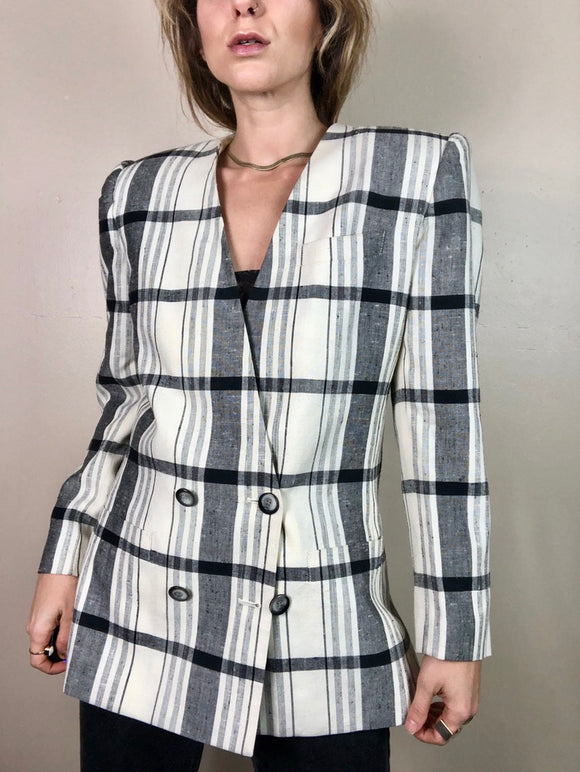 80s Collarless Plaid Blazer