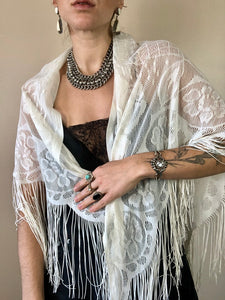 Rumors Lace & Fringe Shawl