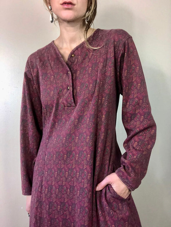 Paisley Grunge Cozy Ankle Length Dress