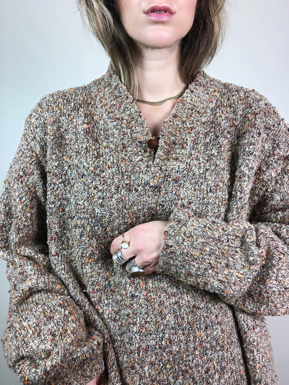 Boucle Toggle Neutral Sweater