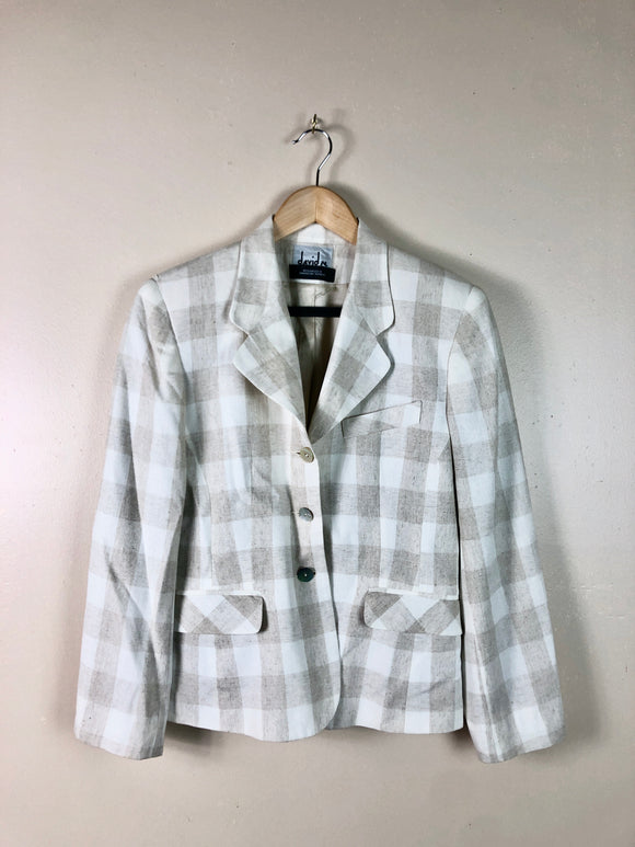 Chic Fitted Box Plaid Blazer