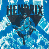 Unisex Jimi Hendrix Blue Bleach Dyed Graphic Tee