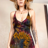 Rainbow Tie Dye Lace Up Jersey Peasant Dress