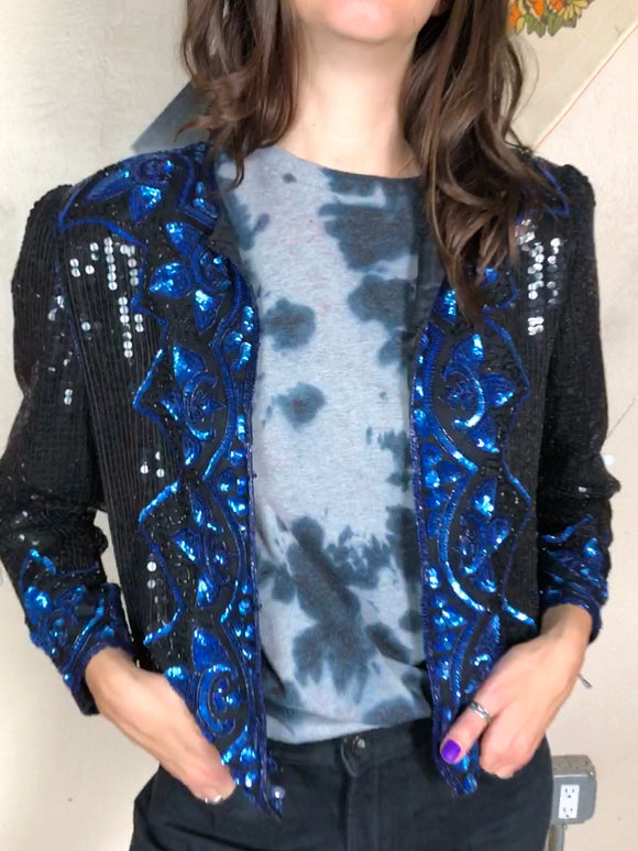 Jazzy Blues Sequin Jacket