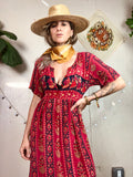 Printed Peasant Boho Vintage Dress