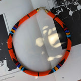 Lagos Orange Beaded Collar Necklace