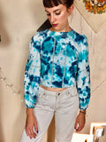Milky Blue Tie Dye Cropped Peasant Top