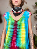 Hand Dyed Rainbow Tie Dye Slouchy Cut Out Top