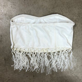 White Fringe Bandeau Top