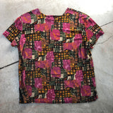 Abstract Floral Print Slinky Vintage Top