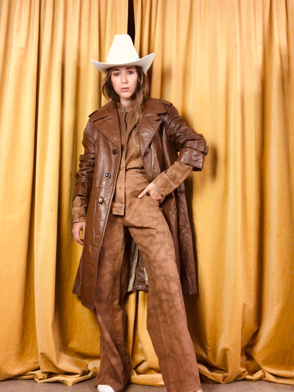 Brown Authentic Leather Vintage Trench Coat
