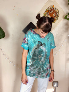 Teal Tie Dye Bear Graphic Tee