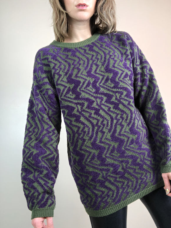 Abstract Print Retro Sweater
