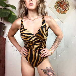 Tiger Print Retro Wrap One Piece