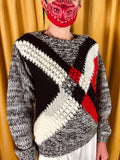 80s Criss Cross Hand Knit Sweater