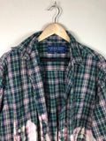 Half Bleach Grunge Flannel Shirt