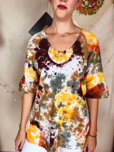 Fall Tones Tie Dye Peasant Top