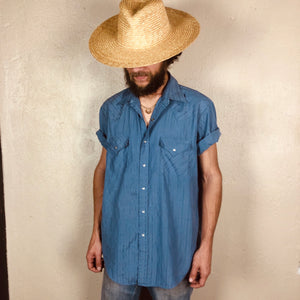 Dusty Blue Vintage Western Snap S/S Button Down