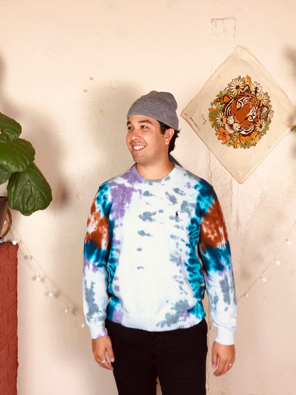 Trippy Dyed Polo Crewneck Sweater
