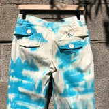 Blue Striped Tie Dye Flare Pants